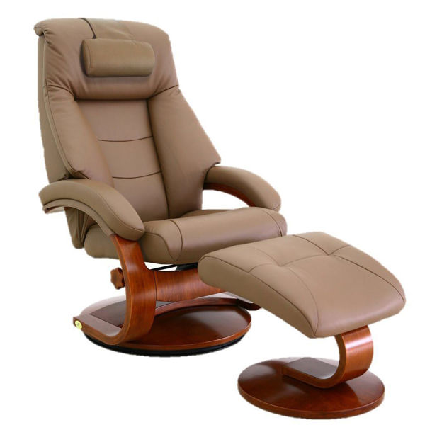 Picture of Sand Leather Recliner with Ottoman with Walnut Frame