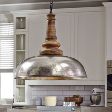Picture of Joziah Silver/Wood Pendant Light