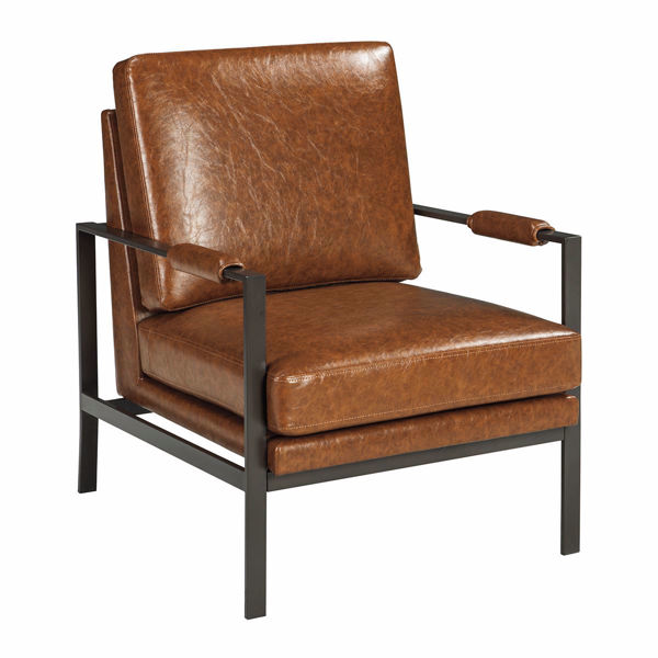 Picture Of Brown Faux Leather Accent Chair