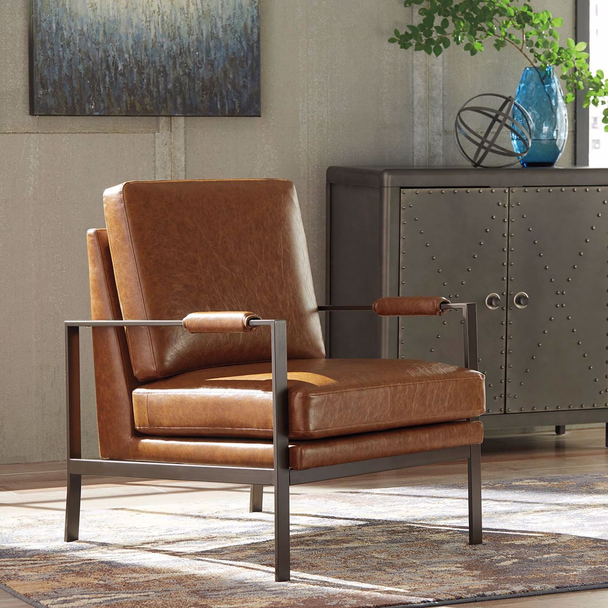 Brown Faux Leather Accent Chair A3000029 Lifestyle