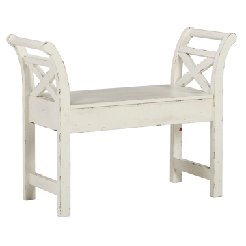 Picture of Distressed White Bench