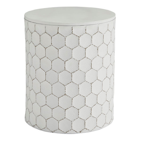 Picture of Polly White Honeycomb Stool