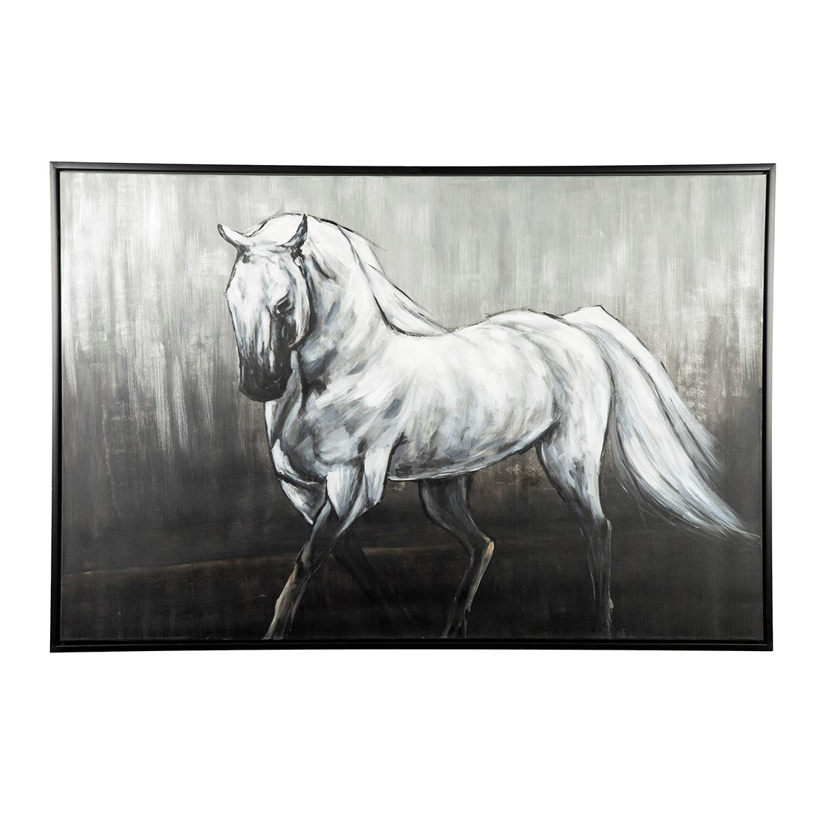 Victor Black White Horse Wall Canvas A8000210 Lifestyle Furniture By Babette S The Villages