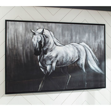Picture of Victor Black & White Horse Wall Canvas