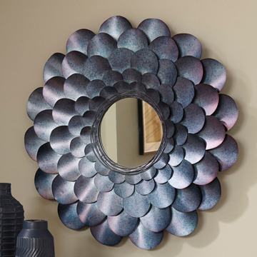 Picture of Deunoro Blue Metal Round Mirror