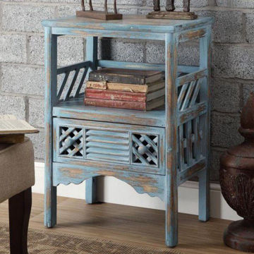 Picture of Bali Blue 1 Drawer Accent Table
