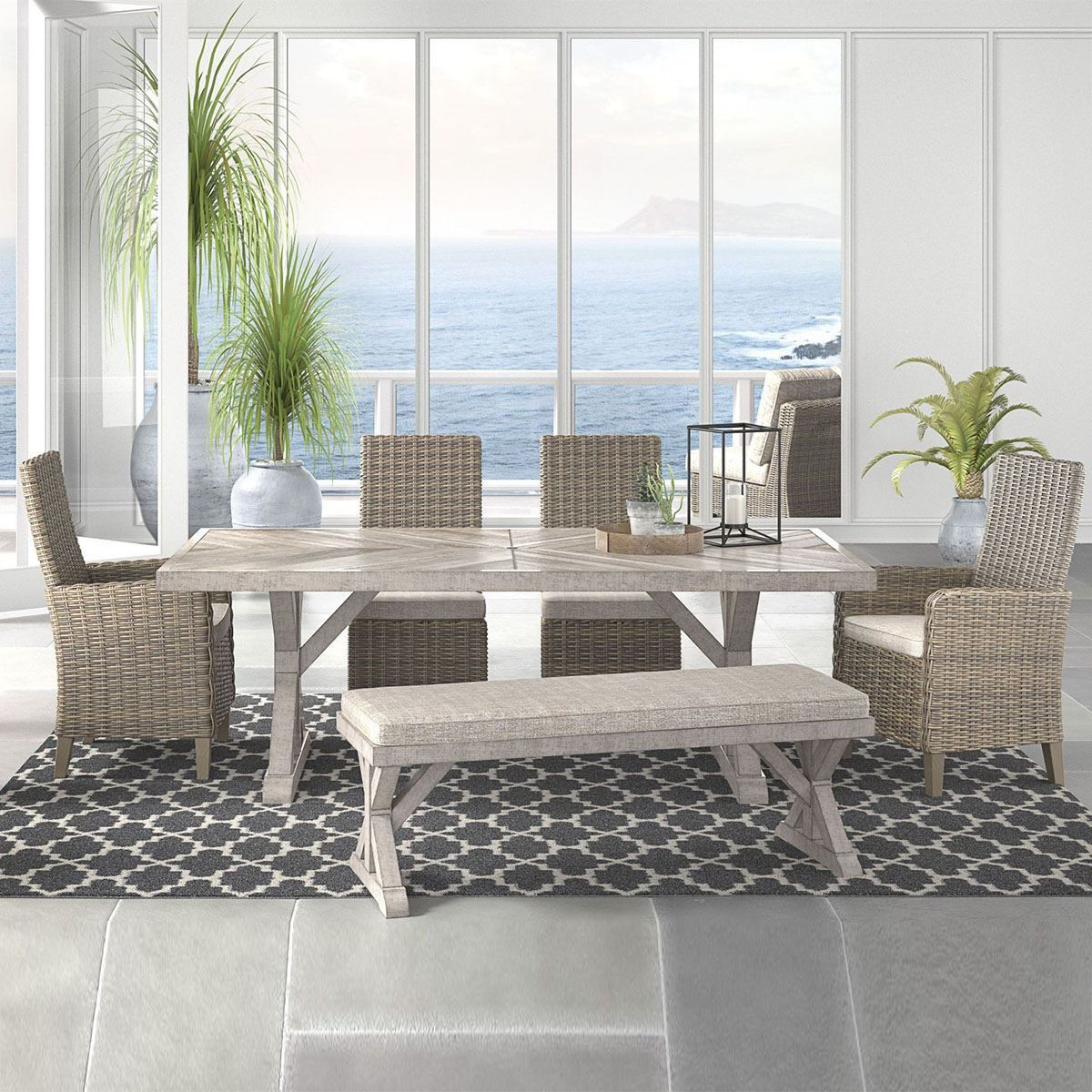 Beach House 6 Piece Dining Room Set With Bench