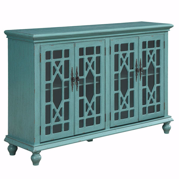 Picture of Bayberry Teal 4 Door Media Credenza