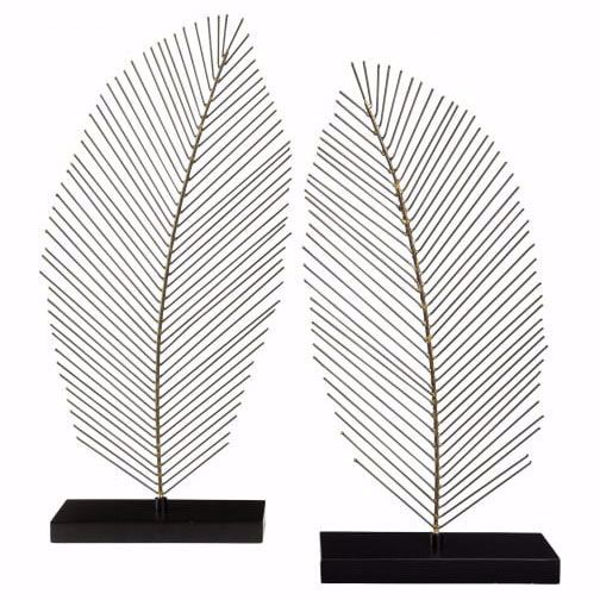Picture of Eleutheria Gray and Black Leaf Sculpture Set