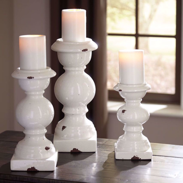 Picture of Devorah Antique White Candle Holder Set