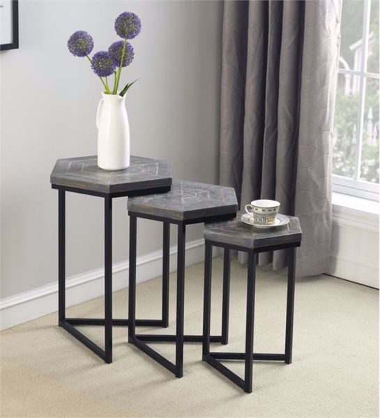 Picture of Grey Wood 3 Piece Nesting Tables