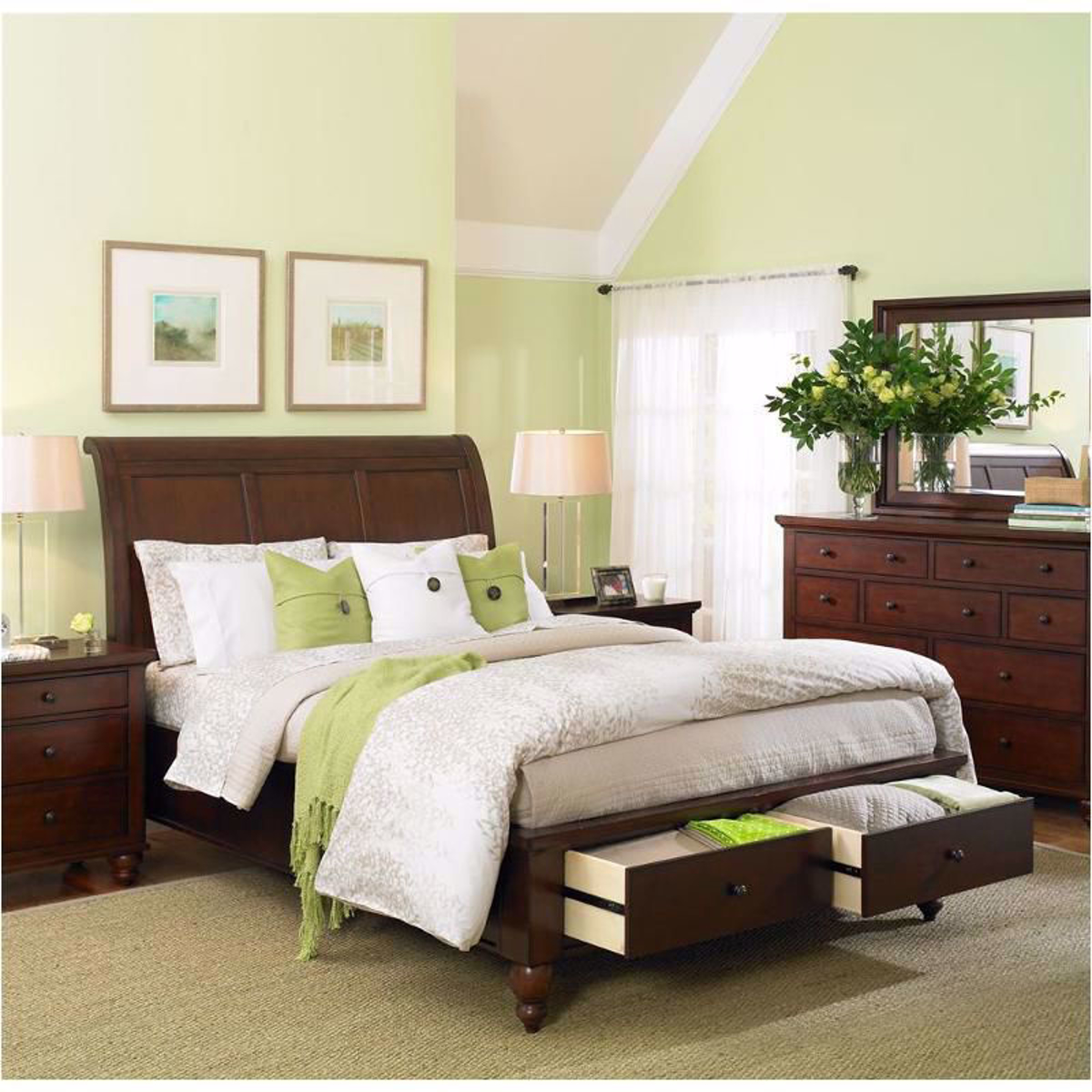 Picture of Cambridge Brown Cherry Queen Storage Bed