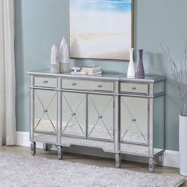Picture of Glam Four Door Three Drawer Mirrored Credenza
