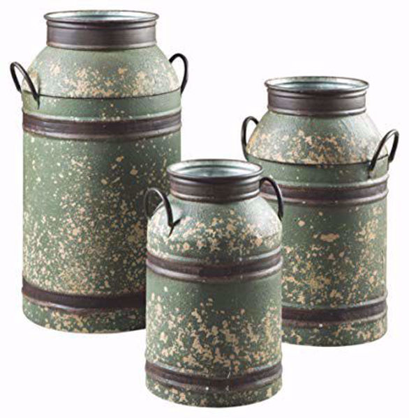 Picture of Elke Milk Can Antiqued Brown and Green Set