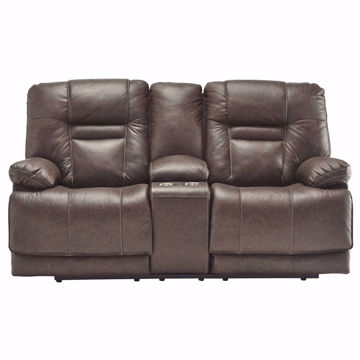 Picture of Truman Umber Leather Power Loveseat