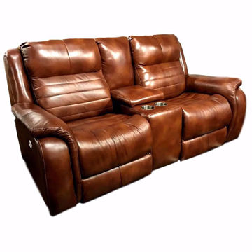 Picture of Marcus Leather Power Console Loveseat