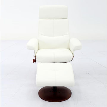 Picture of Roma White Polyurethane Recliner and Ottoman