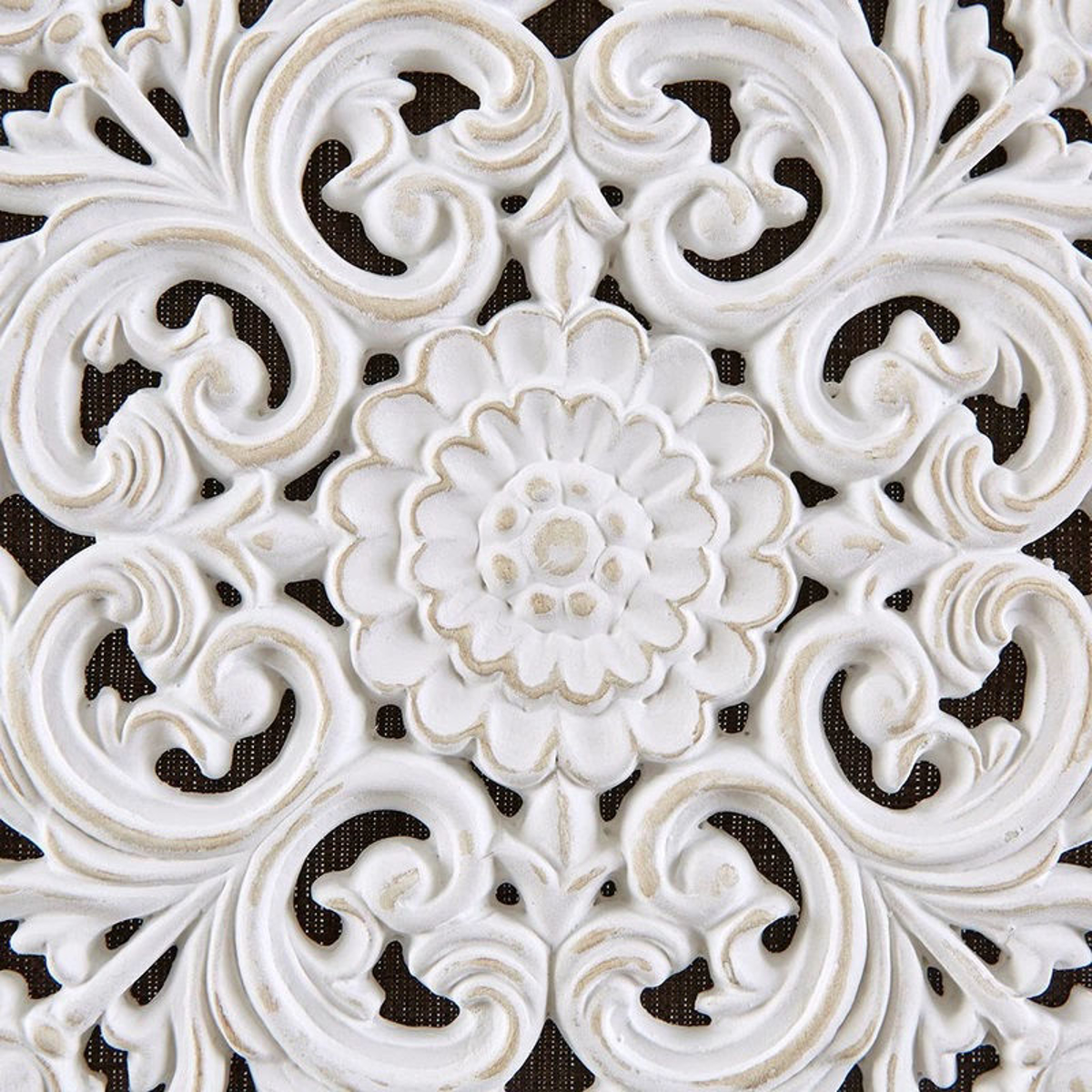 Picture of White Mandala Trinity 3D Embellished Linen Canvas 3 Piece Wall Art