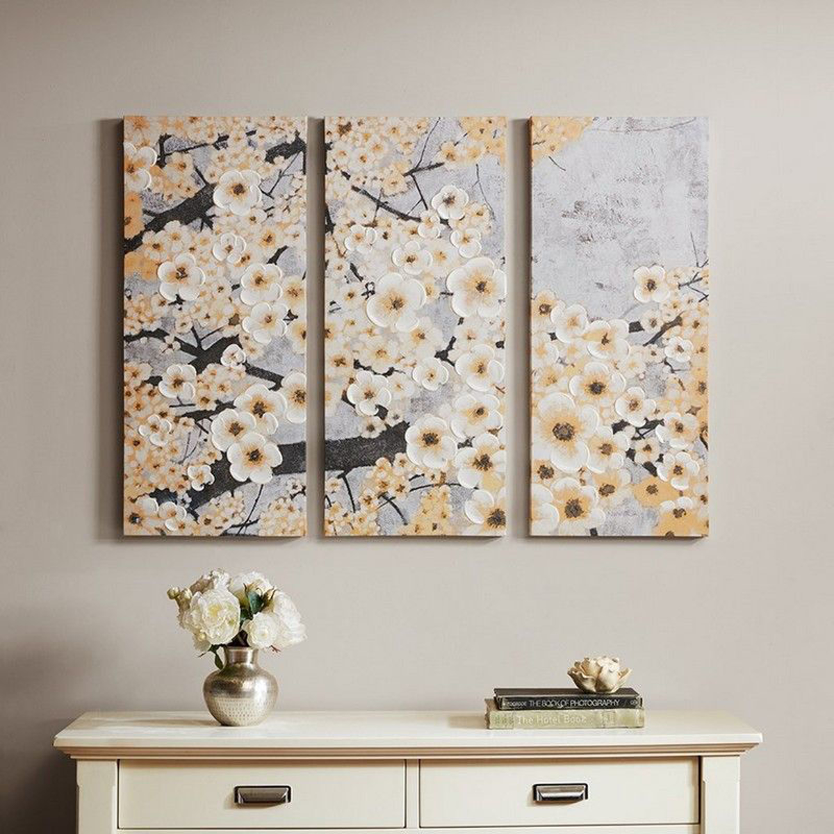 Picture of Gleeful Blossoms Yellow 3 Piece Canvas Print Set