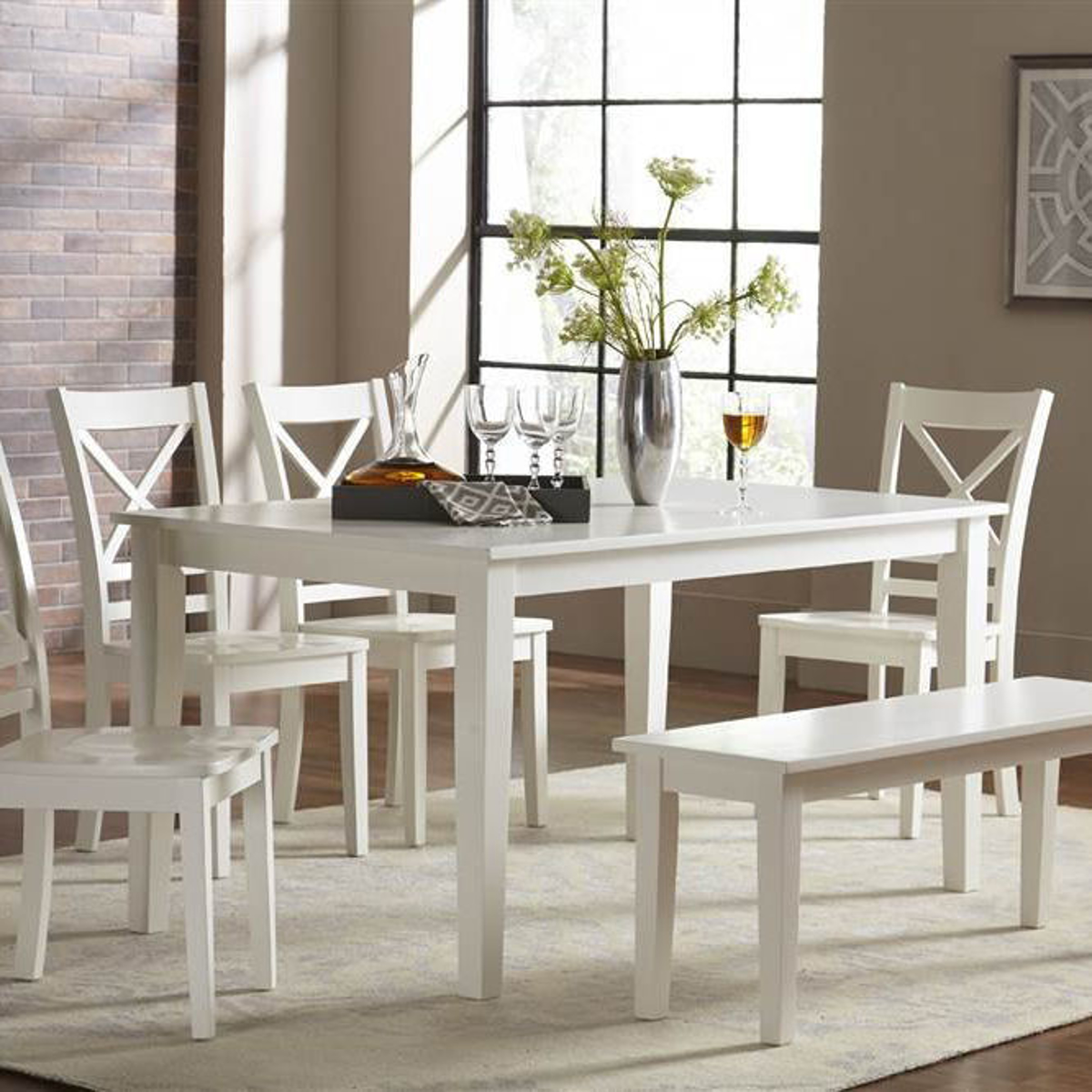 Picture of Simplicity Paperwhite Rectangular Fix Top Dining Table
