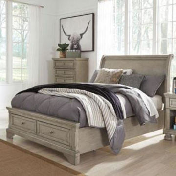 Picture of Kenley Sleigh King Storage Bed in Gray