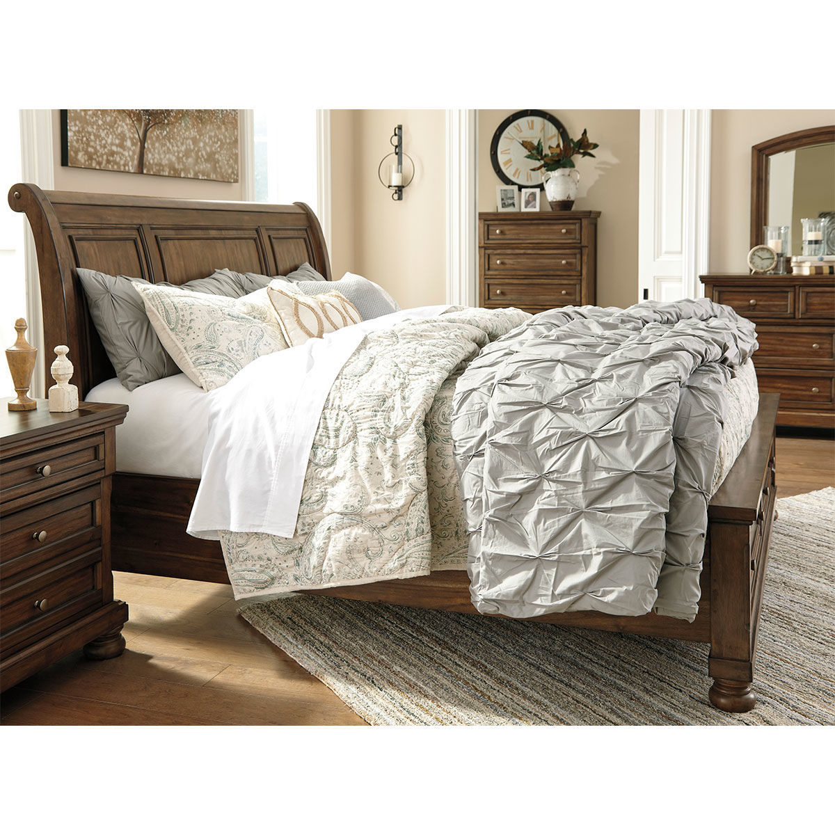 Picture of KENLEY BROWN QUEEN STORAGE SLEIGH BED