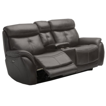 Picture of Raleigh Leather Console Loveseat with Power Headrest in Steel