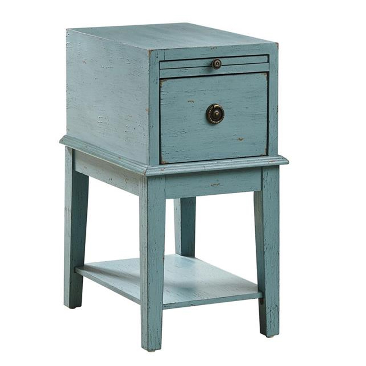 Picture of BLUE WEATHERED CHAIRSIDE CHEST